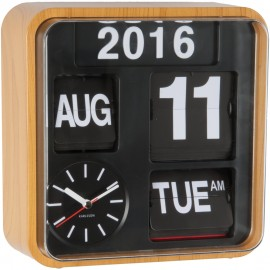 Mini Flip Wall Clock With Wooden Casing 24.5cm
