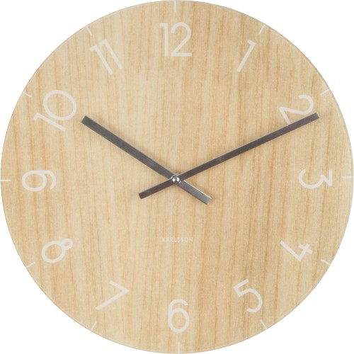 Light Wood Effect Glass Table Clock 17cm