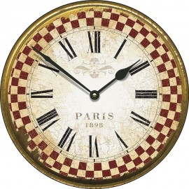 Large Paris 1898 Red Check Border Wall Clock 45cm