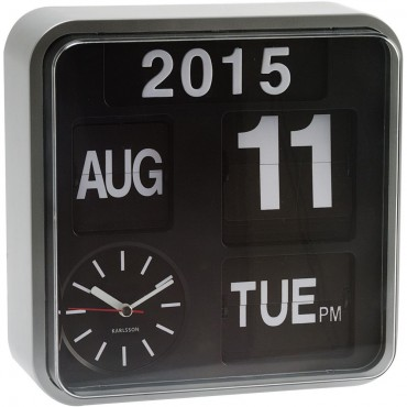 Mini Flip Wall Clock With Silver Casing 24.5cm