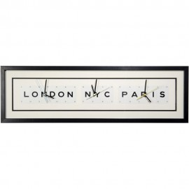 London NYC Paris Wall Clock 76cm