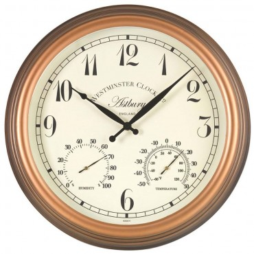 Astbury Outdoor Wall Clock with Thermometer 30cm