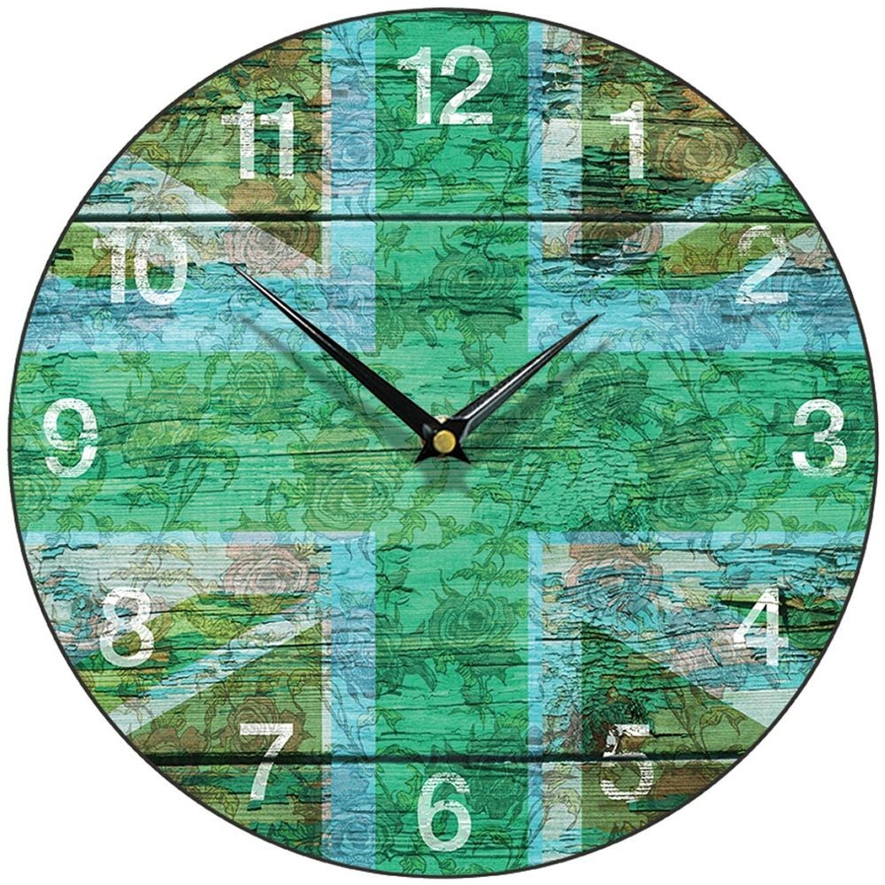 Chic green union jack wall clock 285cm shabby chic green union jack wall clock 285cm amipublicfo Images