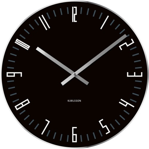 Slim Index Black Table Clock 17cm