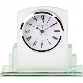 Square Glass Mantel Clock 16.5cm