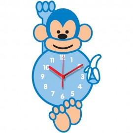 Blue Monkey Shaped Childrens Wall Clock 35cm