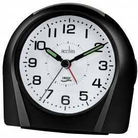 Europa Black Silent Sweep Alarm Clock 11cm