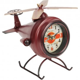 Mantel Clock Red Helicopter 17cm