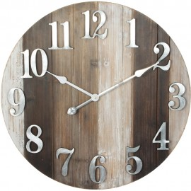 Round Wooden Wall Clock Metal Numbers 60cm