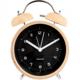 Classic Bell XL Wood Finish Alarm Clock 14cm