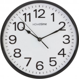 Plastic Wall Clock with Sweep - Black 25.5cm