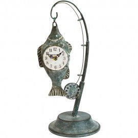 Metal Mantel Clock - Fishing Rod with Fish 48cm