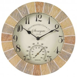 Stonegate Outdoor Wall Clock with Thermometer 25cm