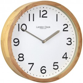 Oak Finish Wooden Case Wall Clock 32cm