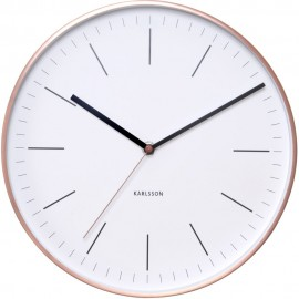 Minimal White Wall Clock With Copper Case 27.5cm