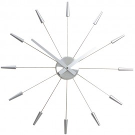 Silver Spoke Wall Clock 58cm