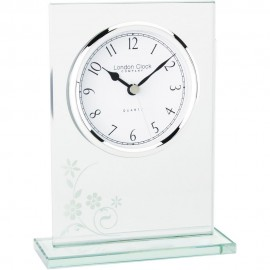 Floral Glass Mantel Clock 16.5cm