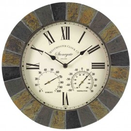 Stonegate Outdoor Wall Clock with Thermometer 35cm