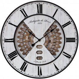 Metal & Wood Effect Wall Clock  80cm