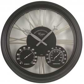 Exeter Black Outdoor Wall Clock with Thermometer 38cm