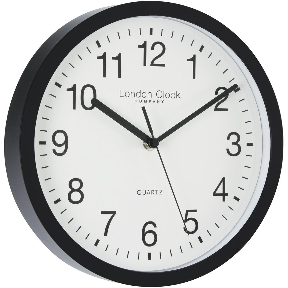 Simple Black Sweeping Wall Clock 25 5cm