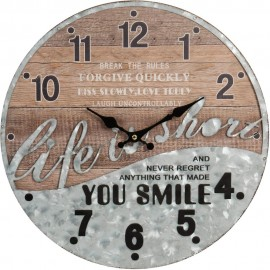 Woodplank Effect & Metal Wall Clock You Smile 40cm