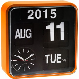 Mini Flip Wall Clock With Orange Casing 24.5cm