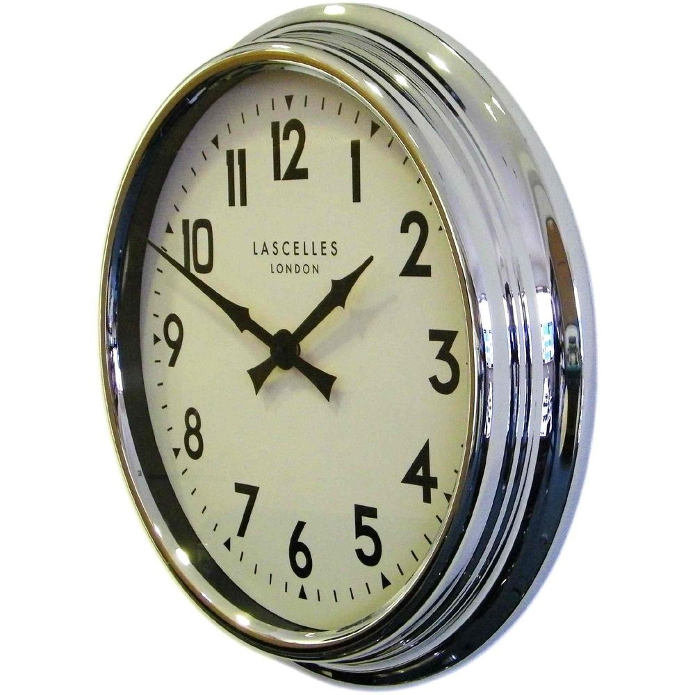 Designer Chrome Wall Clock 60cm