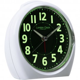 Medium White Luminious Display Analogue Alarm 13cm