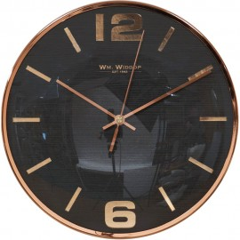 Wall Clock Grey Dial Copper Finish Numbers & Case 25cm