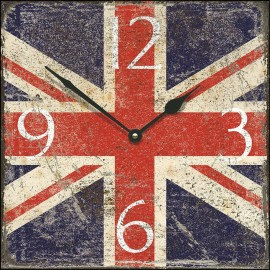 Large Shabby Chic Square Union Jack Wall Clock 45cm