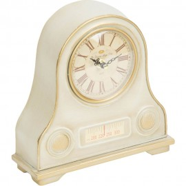 Mantel Clock Cream Transistor Radio 22.5cm