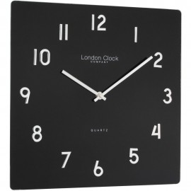 Square Black Glass Wall Clock 35cm