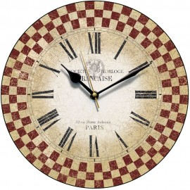 Red French Check Wall Clock 28.5cm