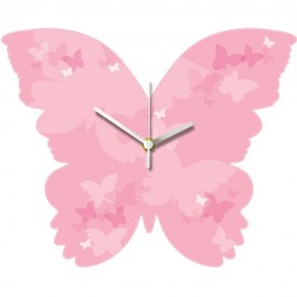 Pink Butterfly Wall Clock 29.5cm