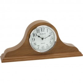 Napoleon Oak Finish Wooden Mantel Clock with Arabic Dial 32cm