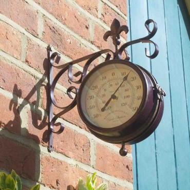 York Station Outdoor Wall Clock with Thermometer 28.5cm