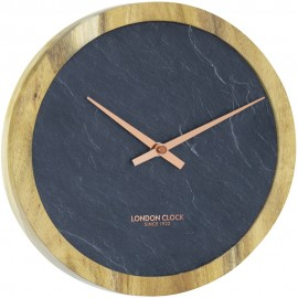 Carbon Wall Clock Wood 25cm