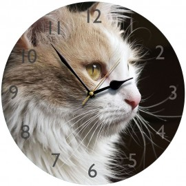 Fluffy Cat Wall Clock 28.5cm