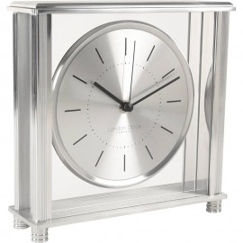 Square Silver Mantel Clock 20cm