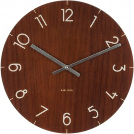 Dark Wood Effect Glass Wall Clock 40cm