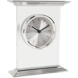 Flat Top Silver Mantel Clock 18cm