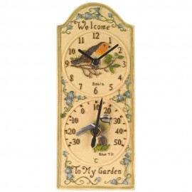 Birdberry Outdoor Wall Clock with Thermometer 30cm