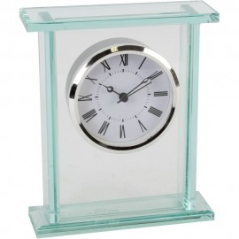 Glass Silver Bezel Mantel Clock 15cm