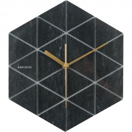 Marble Hexagon Wall Clock 28.5cm