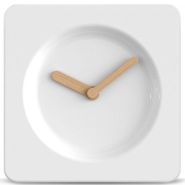 Tile White Wall Clock with Bamboo Hands 25cm