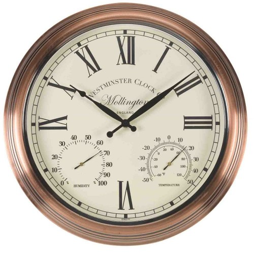 Mollington Outdoor Wall Clock with Thermometer 38cm