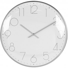 Round Wall Clock Chrome Plated - Silver 30cm