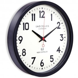 Black Radio Controlled Wall Clock 38cm