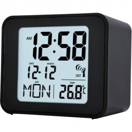 Cole Black  Radio Controlled Alarm Clock 7.5cm